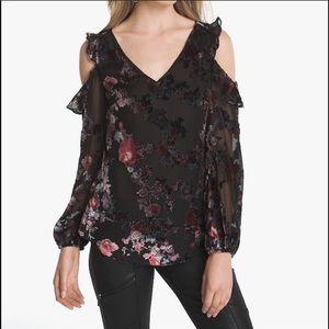 WHBM Floral Velvet Burnout Cold Shoulder Blouse